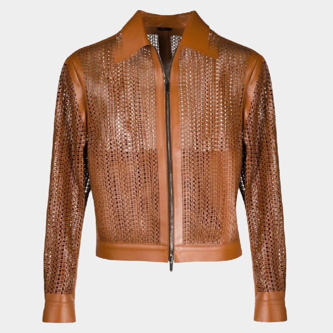 FENDI Brown Perforated Leather Jacket
