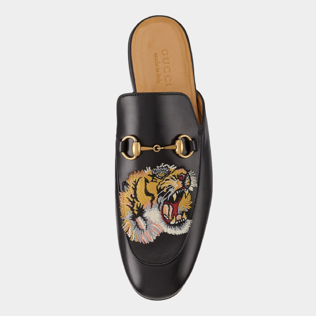Gucci Kings Tiger Leather Mule