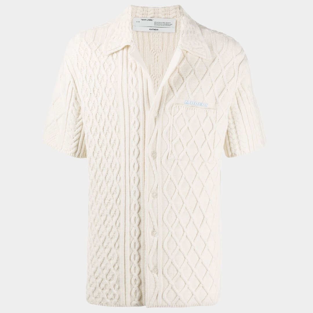 Off-White Cable Knit Cardigan Shirt
