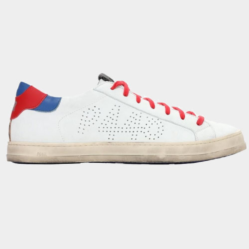 P448 John Leather & Suede Low-Top Sneakers (red)