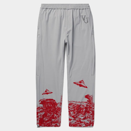 Undercover - Valentino Tapered Printed and Embroidered Nylon-Blend Sweatpants - Gray