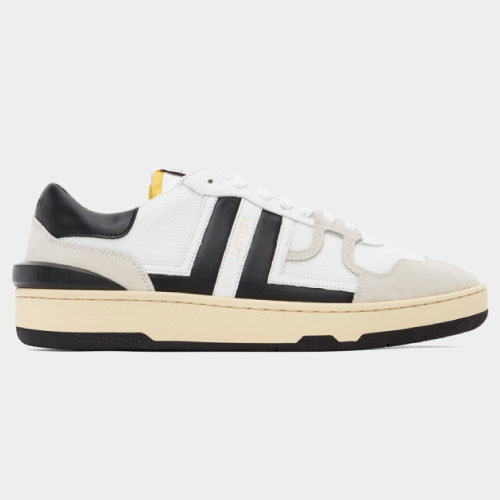 Lanvin White and Black Mesh Clay Low Sneakers