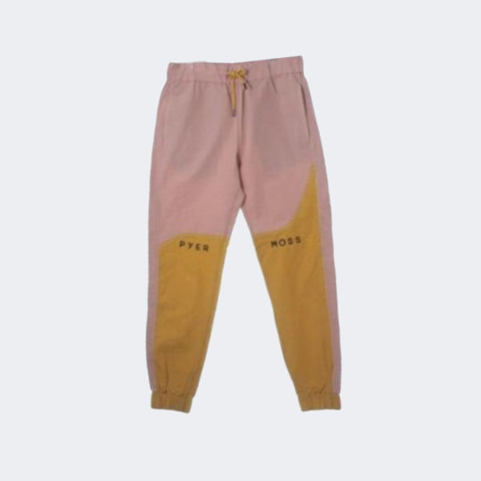 Pyer Moss pink and yellow logo wave track pants