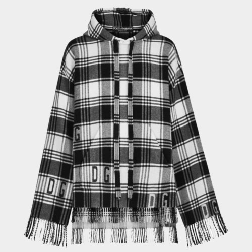 Dolce & Gabbana Fringed Checked Knitted Hoodie
