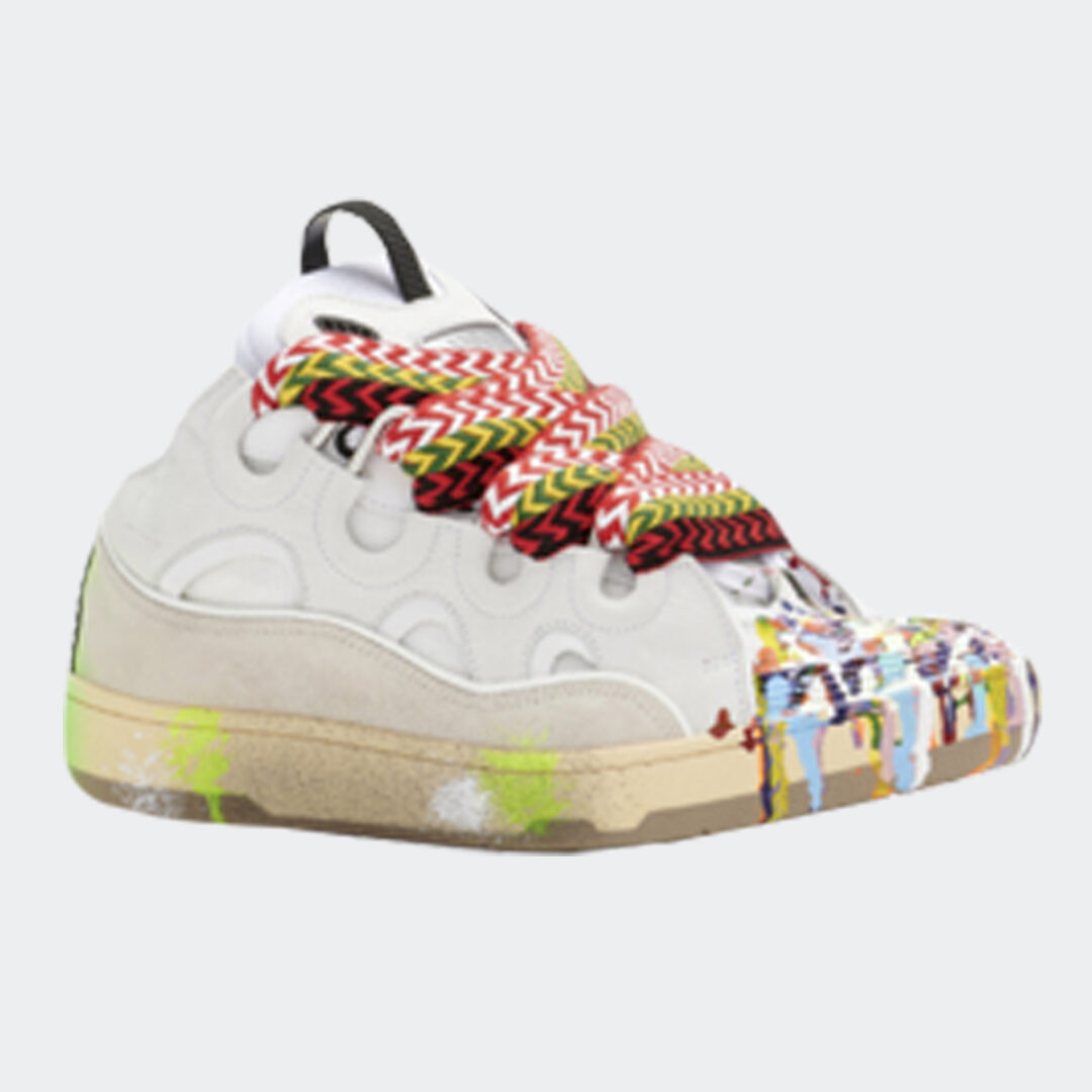 Lanvin painted leather curb sneakers