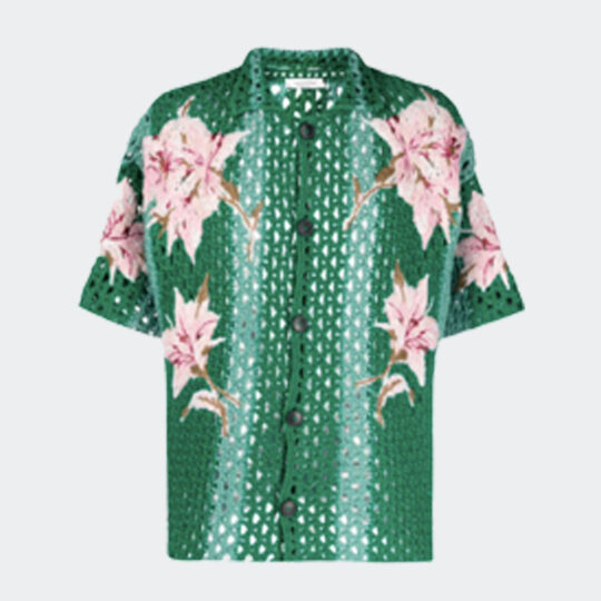 VALENTINO floral-embroidered crochet shirt