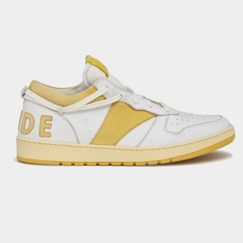 Rhude White & Yellow Rhecess Low Sneakers