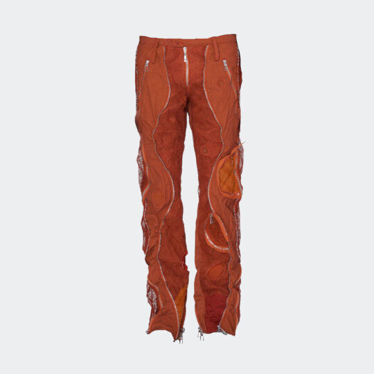 Mokoo s-type zip leather patch trousers