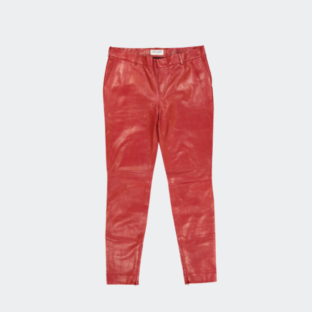 Saint Laurent red leather trousers