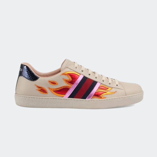 Gucci leather ace flame sneaker