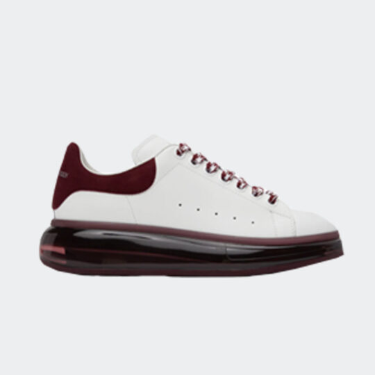 Alexander McQueen White & Burgundy Clear Sole Oversized Sneakers