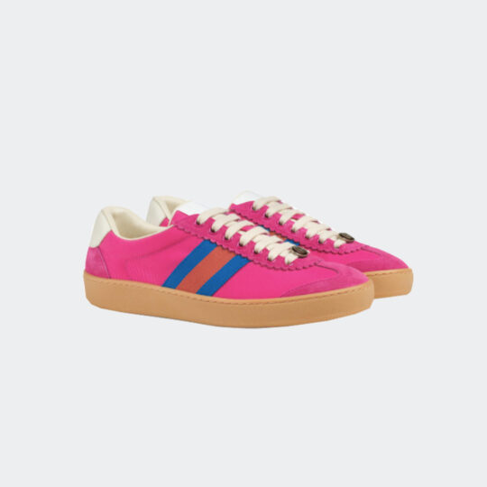 Gucci pink nylon and suede web sneaker