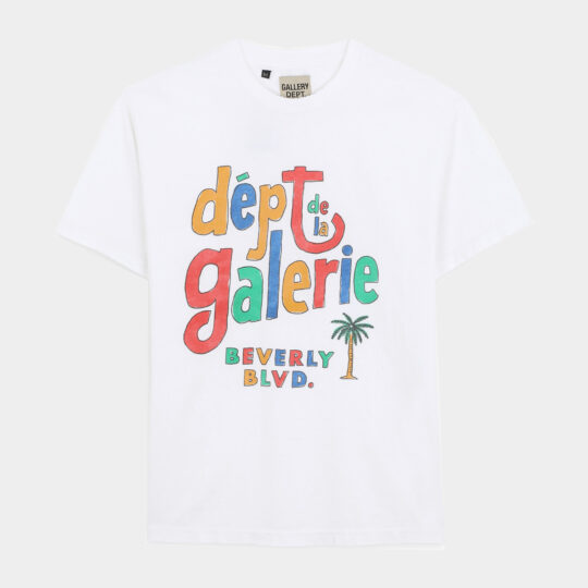 Gallery Dept. White t-shirt with Multicolour Print