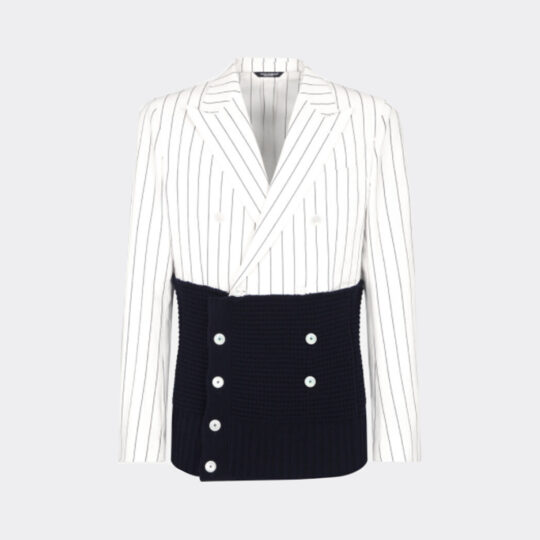 Dolce & Gabbana Double-Breasted Pinstripe Jacket with Knit Details