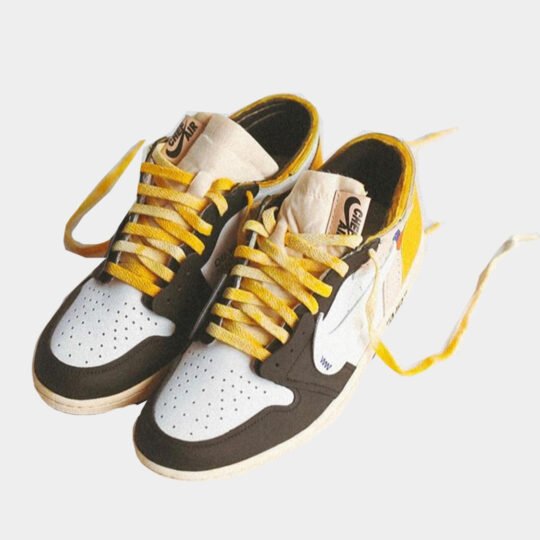 Air Jordan 1 x Off-White Canary yellow black low top custom by Chefhuyle