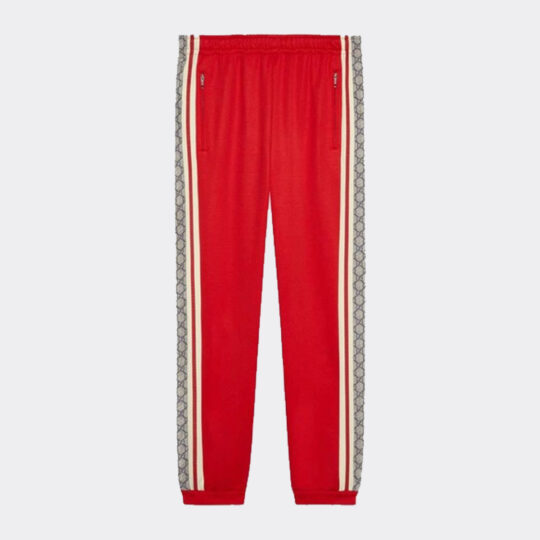 Gucci Tech Jersey Track Pants In Beige/red