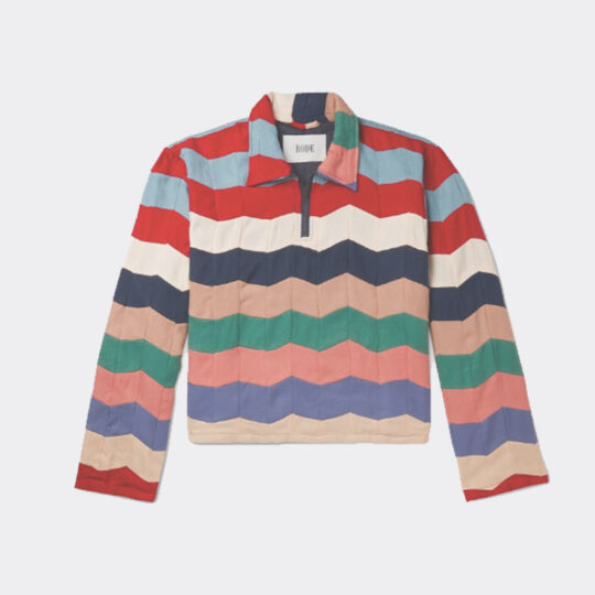 Bode Striped Quilted Twill Half-Zip Polo Shirt - Multi