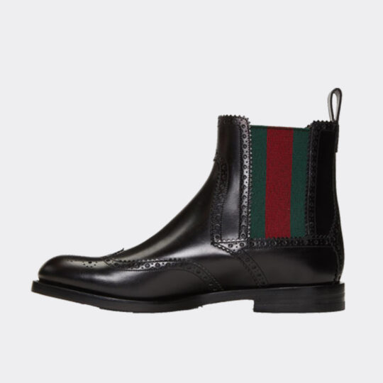 Gucci Web-Striped Leather Chelsea Boots