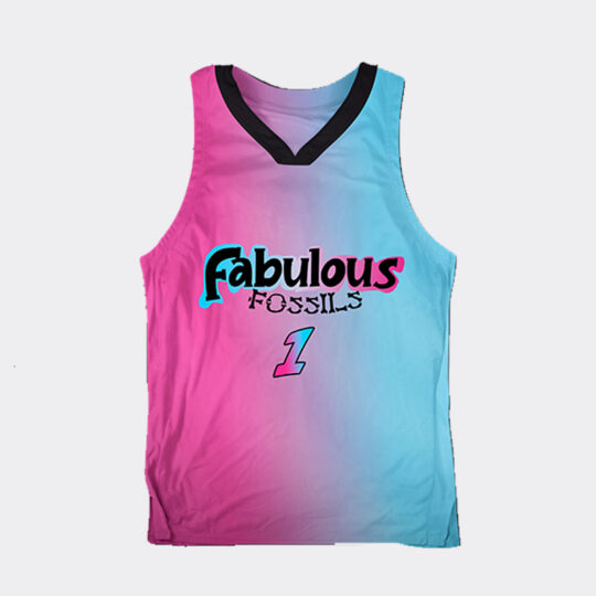 Chibi Dinos Fabolous Fossils Basketball Jersey - Pink/Turquoise/Black