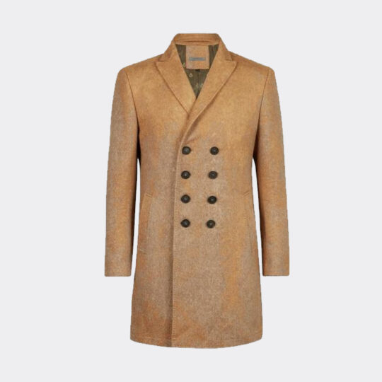 John Varvatos Double-Breasted Coat with Pick Stitch