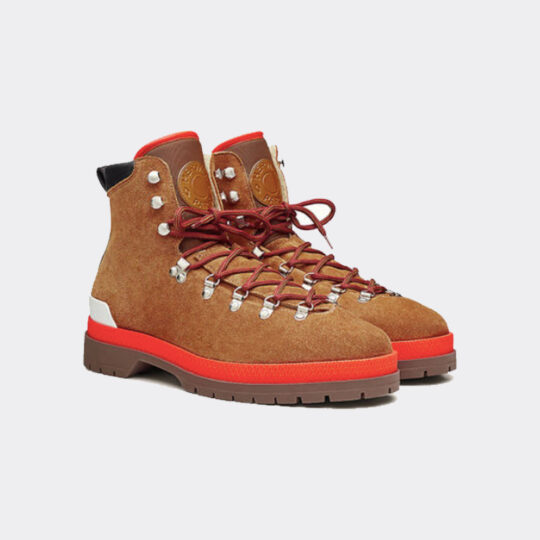 Hermes Mountain Boots Suede Blended Fabrics Studded Street Style