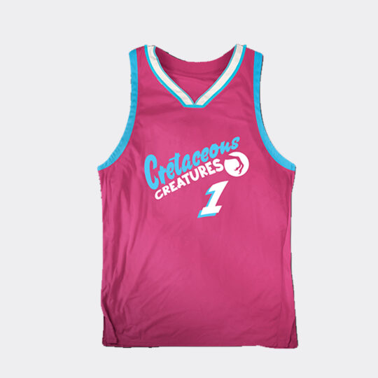 Chibi Dinos Cretaceous Creatures Basketball Jersey - Pink/Turquoise/White