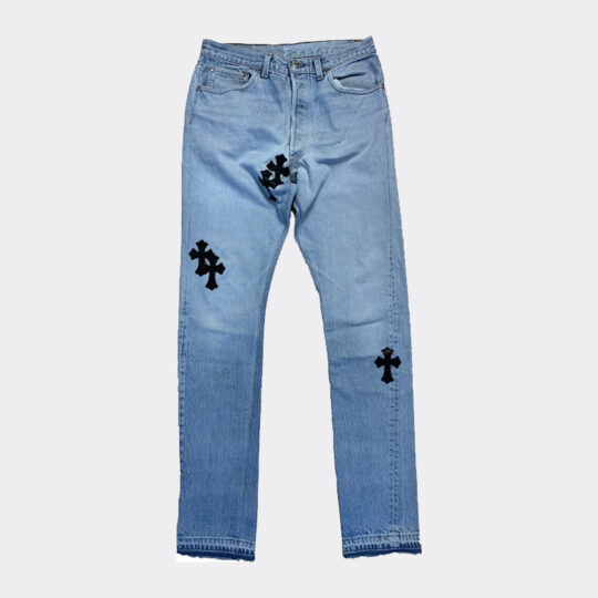 Chrome Hearts Jeans with Black Crosses
