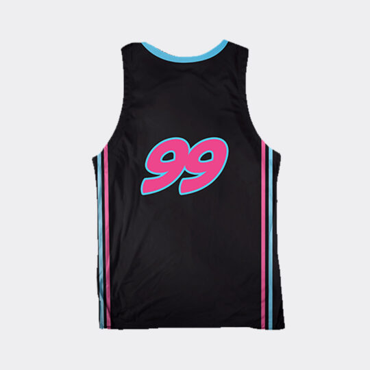 Chibi Dinos Outstanding Omnivores Basketball Jersey- Black/Turquoise/Pink
